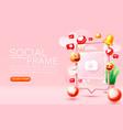 social photo frame followers media banner vector image