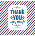 Thank you card on tricolor grunge background vector image