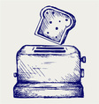 toast popping out a toaster vector image