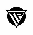 tp logo with negative space triangle and circle vector image vector image