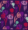 tropical colors tulip sketch seamless pattern vector image