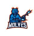 wolves esport mascot logo vector image vector image