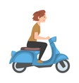 young woman riding scooter side view girl in vector image vector image