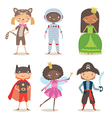 Kids of different nation in costumes for party or vector image