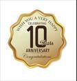 anniversary retro label 10 years vector image vector image