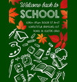back to school poster on chalkboard vector image vector image