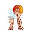 Basketball Hands Retro vector image vector image