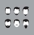 bearded men faces icon vector image vector image