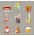 Birthday Party Celebrate Icons and Symbols Set 3d vector image vector image