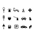black traffic icon set vector image vector image