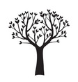 black tree with leaves outline vector image vector image