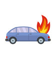 burning car icon flat style vector image vector image