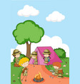 camping kids in nature vector image