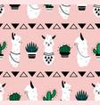 cartoon lama pattern seamless texture cute vector image vector image