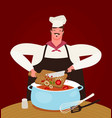 chef preparing food in kitchen hand drawn vector image