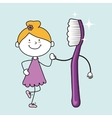 child with toothbrush isolated icon design vector image