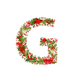 christmas floral tree letter G vector image vector image