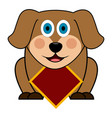 cute dog with empty label vector image