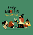 cute little halloween redheaded witches vector image vector image