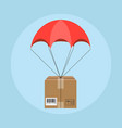 delivery service parachute with parcel in sky vector image