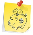 doodle sticky note piggy bank vector image vector image