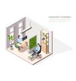 ergonomic working place background vector image