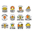 fast food menu delivery and takeaway signs icons vector image vector image