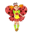 Girl dressed as ladybug for Christmas vector image vector image