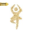 Gold glitter icon of dance girl isolated on vector image