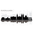 guadalajara mexico city skyline black and white vector image vector image