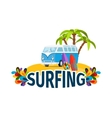 Hippie surfing poster with bus vector image vector image