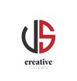 initial letter us creative elegant circle logo vector image vector image