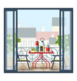 interior balcony table and chairs potted vector image