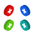 isometric medical cross icon in on white vector image vector image