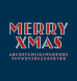knitted font christmas latin alphabet letters and vector image