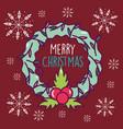 merry christmas celebration wreath berry vector image