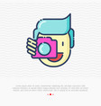 photographer thin line icon man is holding camera vector image