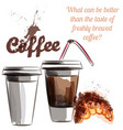 poster with coffee plastic cups and croissant vector image