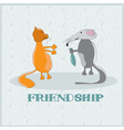 rat giving to a cat fish cartoon vector image