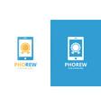 reward and phone logo combination trophy vector image vector image