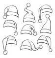 santa hats sketch set isolated on white background vector image