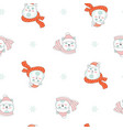 seamless pattern merry christmas two cute bears vector image
