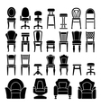 set icons chairs vector image