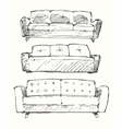 Set of hand drawn sofa vector image vector image