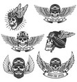 set of skulls in winged motorcycle helmets design vector image vector image