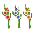 Set of three bouquets vector image vector image