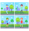 skateboarding set skateboarders in green city park vector image