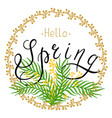 spring with handwritten text leaves vector image vector image