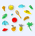 summer stickers set doodle background with beach vector image vector image