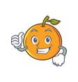thumbs up orange fruit cartoon character vector image vector image